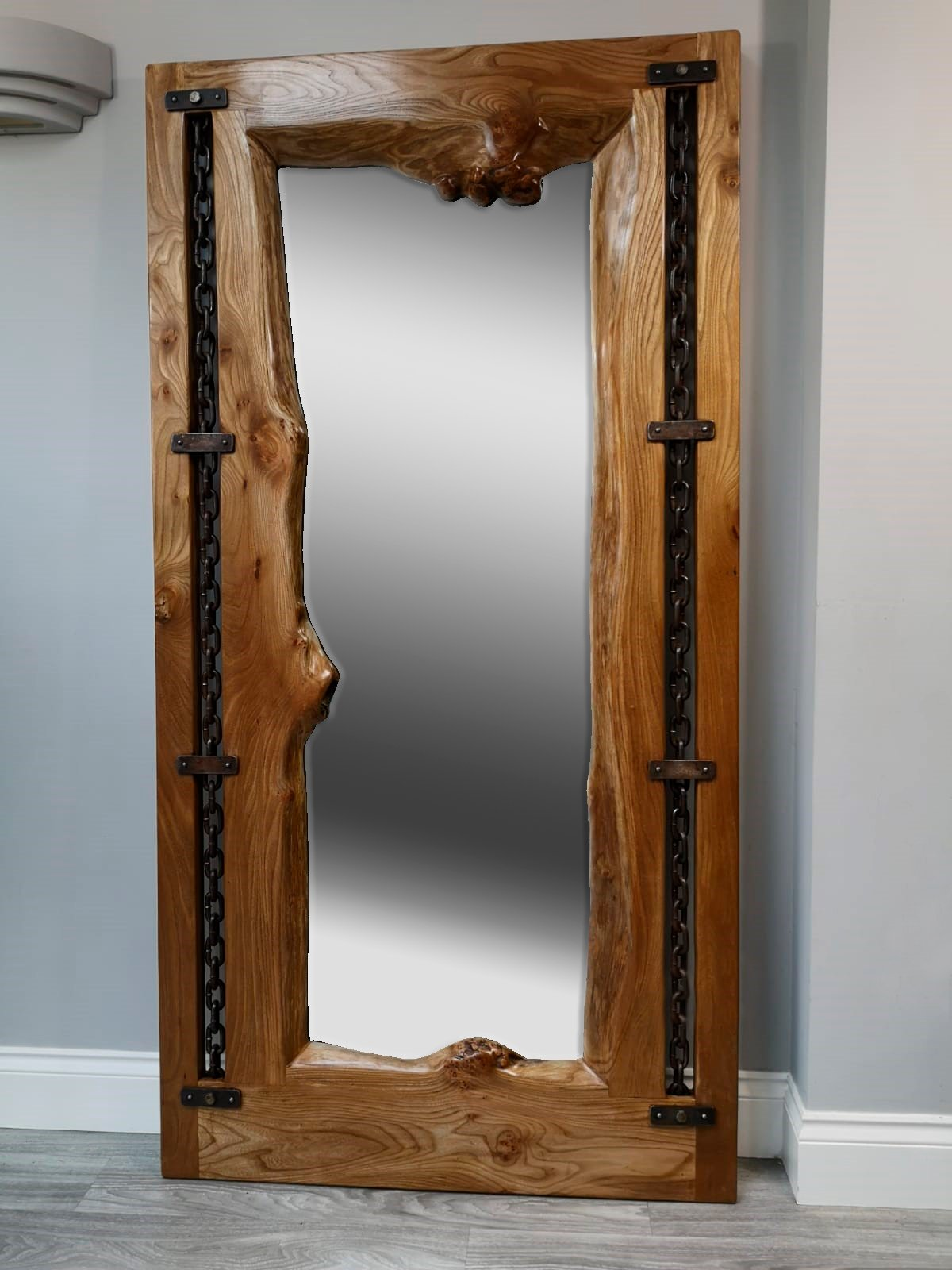 Burr Elm Floor Standing Mirror Wood Shed